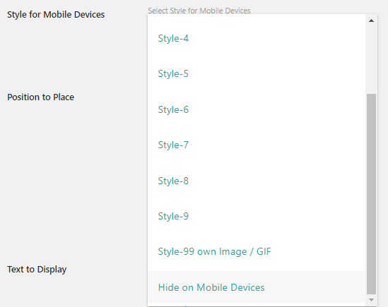 hide styles for mobile devices